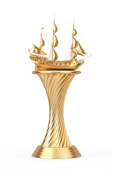 Золотой приз трофей винтаж высокий парусник, каравелла, пиратский корабль или военный корабль на белом фоне. 3d рендеринг