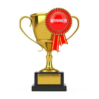 Золотой трофей с красной розеткой ленты награды и знаком победителя на белом фоне. 3d рендеринг