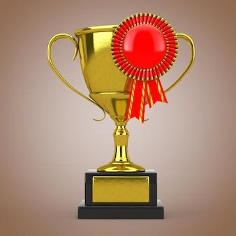 Золотой трофей с красной пустой розеткой ленты награды на коричневом фоне. 3d рендеринг