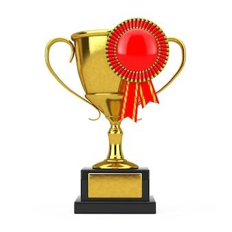 Золотой трофей с красной пустой розеткой ленты награды на белом фоне. 3d рендеринг