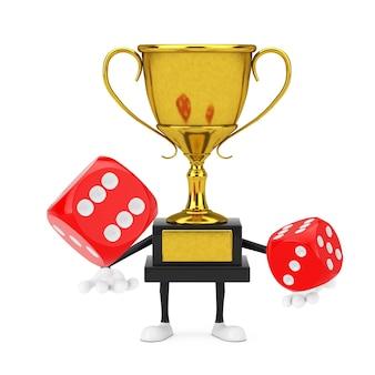Золотой призер трофей талисман персонажа и пустой белый пустой баннер с красными игральными кубиками в полете на белом фоне. 3d рендеринг
