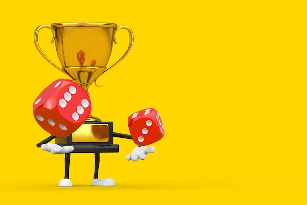 Золотой призер трофей талисман персонажа и пустой белый пустой баннер с красными игральными кубиками в полете на желтом фоне. 3d рендеринг