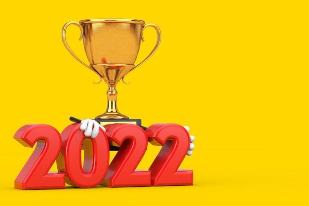 노란색 배경에 2022년 새해 기호가 있는 황금상 수상자 트로피 마스코트 인물. 3d 렌더링