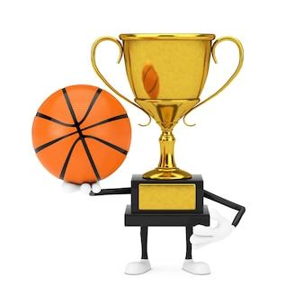 白い背景の上のバスケットボールボールとゴールデンアワード受賞トロフィーマスコット人物キャラクター。 3dレンダリング
