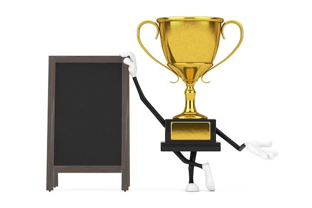 金色の賞を受賞したトロフィーマスコット人物キャラクター、白地に空白の木製メニュー黒板屋外ディスプレイ。 3dレンダリング