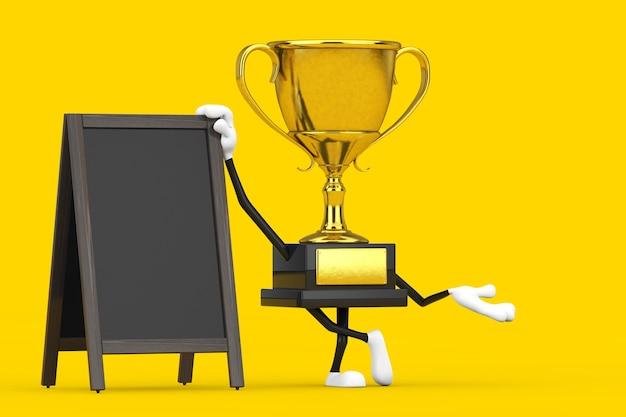 黄色の背景に空白の木製メニュー黒板屋外ディスプレイとゴールデンアワード受賞トロフィーマスコット人物キャラクター。 3dレンダリング