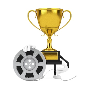 Golden award winner trophy mascot person character with film reel cinema tape on a white background. 3d rendering