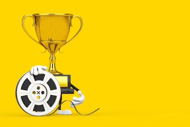 Golden award winner trophy mascot person character with film reel cinema tape on a yellow background. 3d rendering