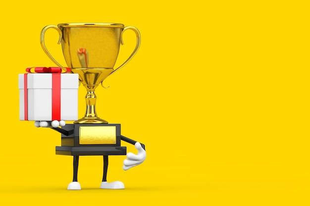 노란색 배경에 선물 상자와 빨간 리본이 있는 황금상 수상자 트로피 마스코트 인물. 3d 렌더링