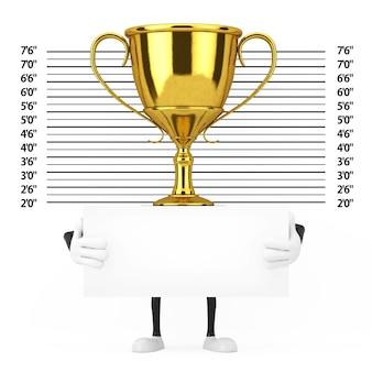 경찰 라인업 또는 mugshot 배경 극단적인 근접 촬영 앞에 식별 플레이트가 있는 황금상 수상자 트로피 마스코트 인물. 3d 렌더링