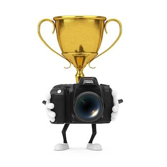 Золотой характер человека талисмана трофея победителя премии с современной цифровой фотокамерой на белой предпосылке. 3d рендеринг