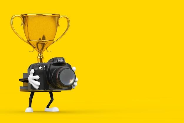 Золотой характер персонажа талисмана трофея победителя премии с современной цифровой фотокамерой на желтой предпосылке. 3d рендеринг