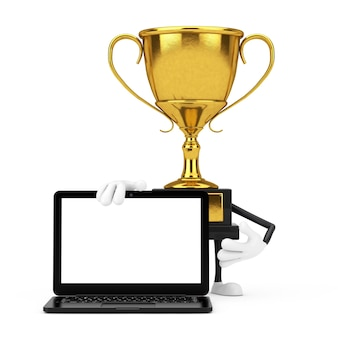 Golden award winner trophy mascot person character with modern laptop computer notebook and blank screen for your design on a white background. 3d rendering