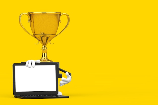 Golden award winner trophy mascot person character with modern laptop computer notebook and blank screen for your design on a yellow background. 3d rendering