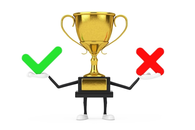 Golden award winner trophy mascot person character with red cross and green check mark, confirm or deny, yes or no icon sign on a white background. 3d rendering