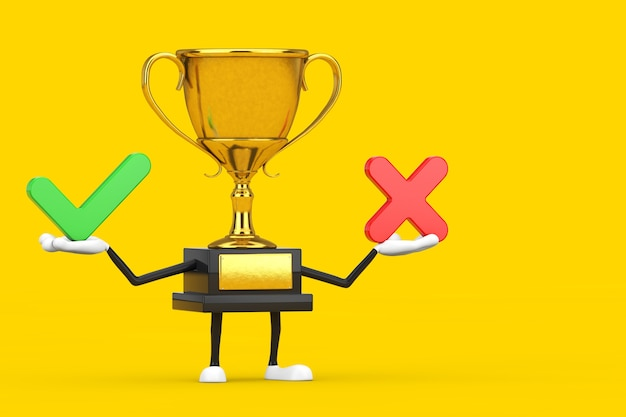 Golden award winner trophy mascot person character with red cross and green check mark, confirm or deny, yes or no icon sign on a yellow background. 3d rendering