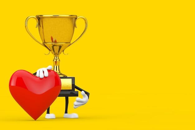 노란색 바탕에 붉은 마음으로 황금 상을 수상한 트로피 마스코트 인물. 3d 렌더링