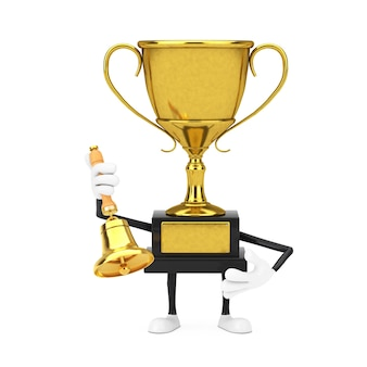 Golden award winner trophy mascot person character with vintage golden school bell on a white background. 3d rendering