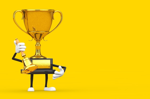 Golden award winner trophy mascot person character with vintage golden school bell on a yellow background. 3d rendering