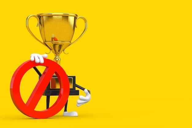 黄色の背景に赤い禁止または禁止記号が付いたゴールデンアワード受賞者のトロフィーパーソンキャラクターマスコット。 3dレンダリング