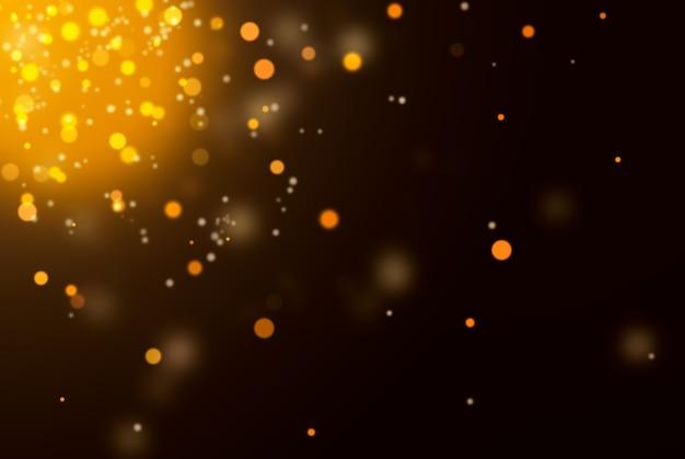 Золотой фон с расфокусированными огнями на черном.