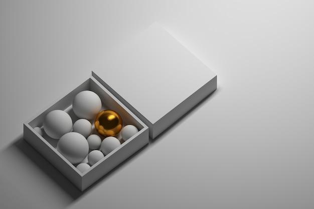 Golden ball in white box