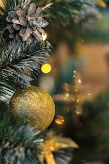 Golden balls and cones on the christmas tree