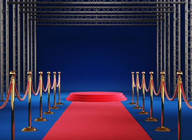 Golden barrier with podium on blue background 3d