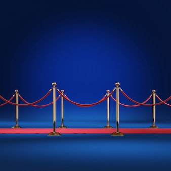Golden barrier with red rope 3d