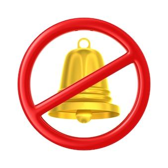 Золотой колокол и знак запрещены на белом