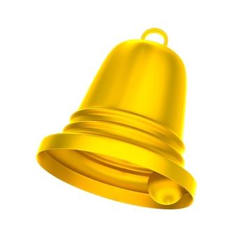 白地に金色の鐘。分離された3dイラスト