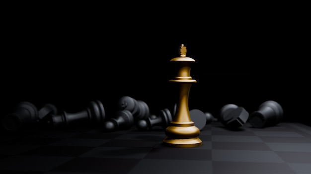 Golden bishop chess board game and, strategy ideas concept business background