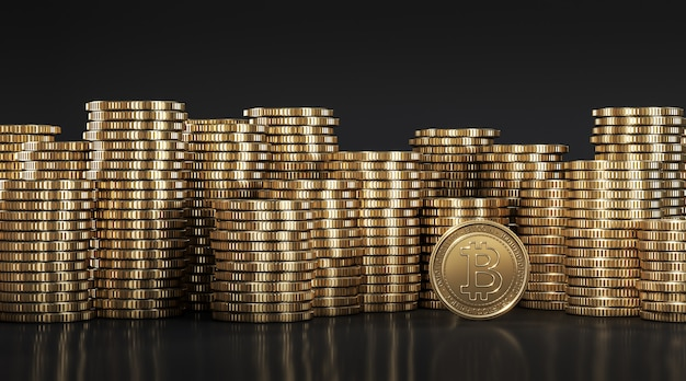 Golden bitcoin (btc) among golden coins stacked on each other in different positions. 3d rendering