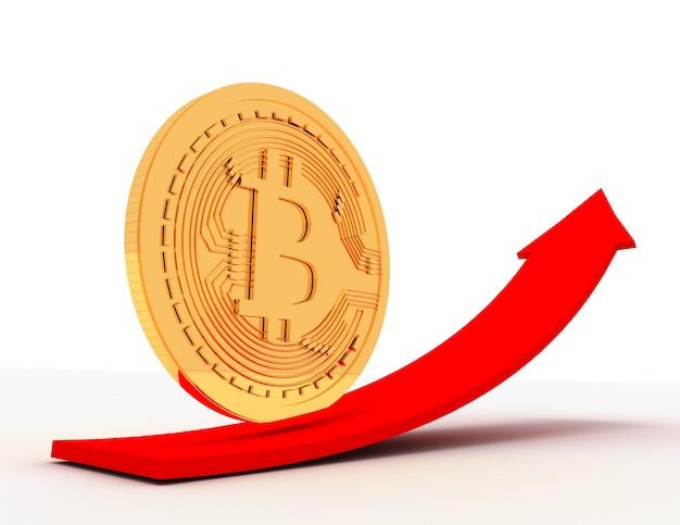 Золотая монета bitcoin на стрелке вверх. 3d визуализированная иллюстрация