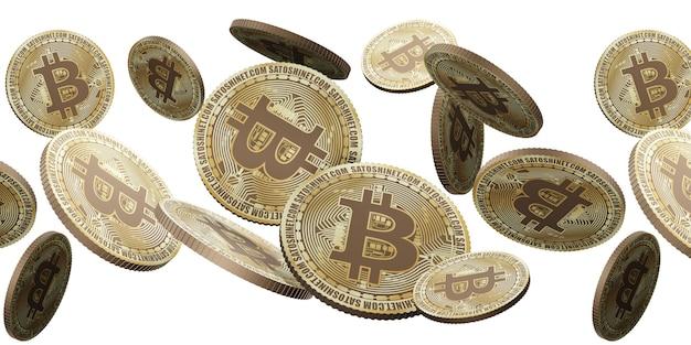 Золотая монета криптовалюты биткойн, плавающая в воздухе 3d иллюстрации фона