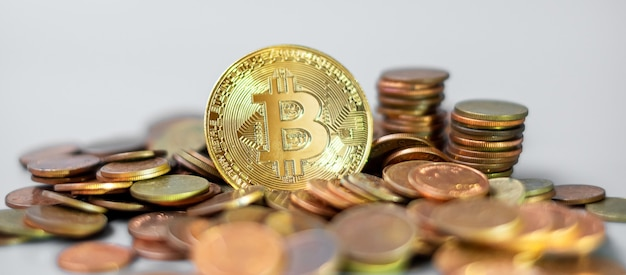 Golden bitcoin cryptocurrency and coin stack