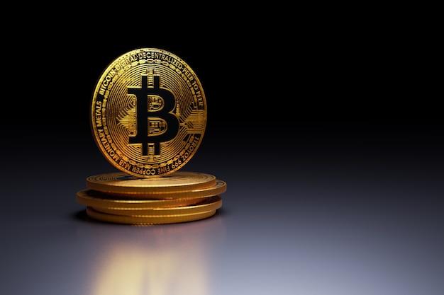Golden bitcoin on dark background, 3d illustrations rendering