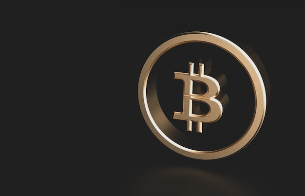 Golden bitcoin digital currency with copy space. futuristic digital money 3d icon.