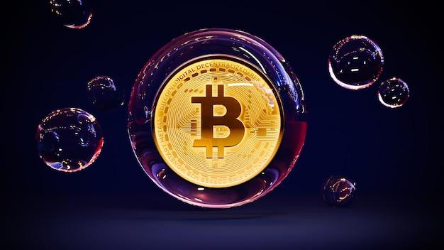 Золотой биткойн в пузыре. концепция коллапса криптовалюты.