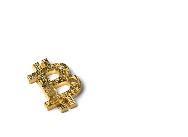 Golden bitcoin isolated. top view