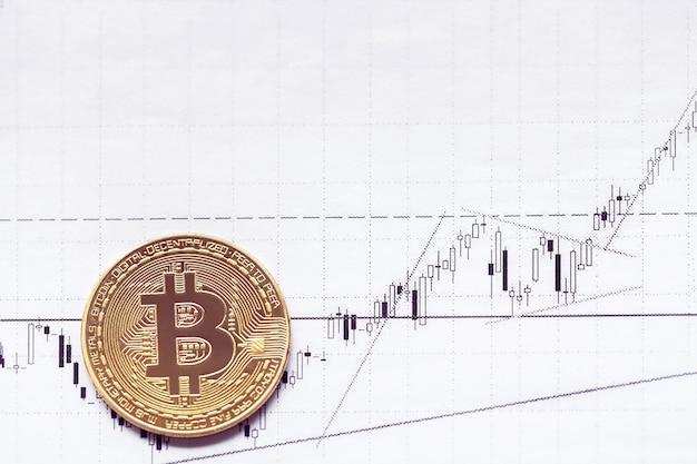 Золотой биткойн на фоне восходящего графика
