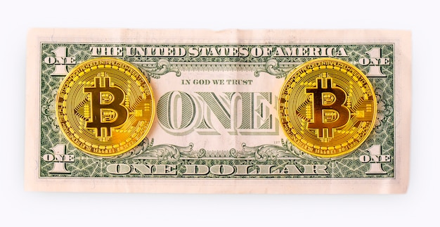 Golden bitcoin on us dollar
