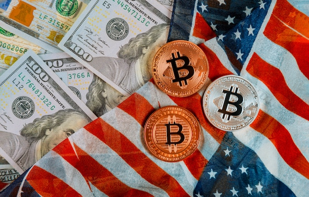 Golden bitcoin on us dollars digital currency with us flag