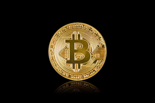 Golden bitcoindigital currency isolated on black