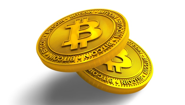 Golden bitcoins isolated on white