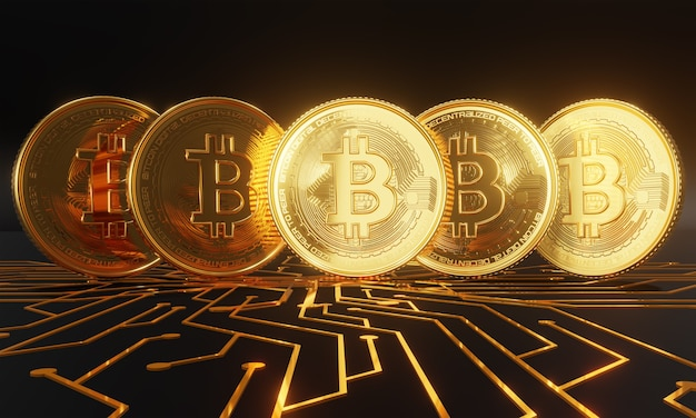 Golden bitcoins standing on circuit board