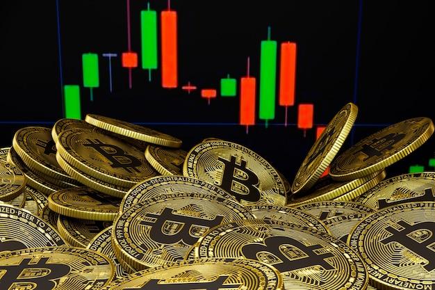 Золотые биткойны с красочными полосами