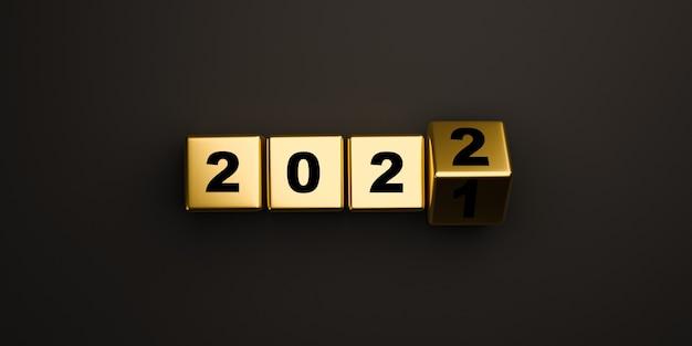 メリークリスマスと3dレンダリングによる新年あけましておめでとうございますの準備の概念のための暗い背景で2021年から2022年の間で反転する黄金のブロックキューブ。