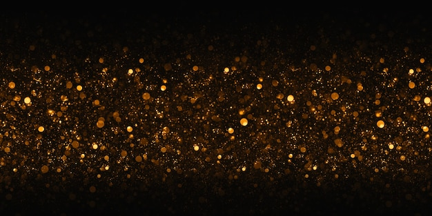 Golden bokeh glitter bokeh effect black background 3d illustration