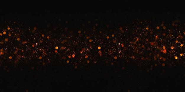 ゴールデンボケキラキラボケ効果黒背景3dイラスト